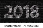 glitch new year sign. 2018... | Shutterstock .eps vector #714059383