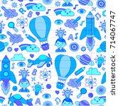 seamless pattern knowledge... | Shutterstock .eps vector #714067747