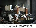 old electronic things in the... | Shutterstock . vector #714071977