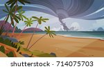 tornado incoming from sea... | Shutterstock .eps vector #714075703