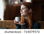 woman drinking coffee  portrait.