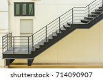 stair for fire escape with the... | Shutterstock . vector #714090907
