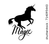 unicorn silhouette with text.... | Shutterstock .eps vector #714095443