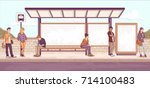 passengers at bus stop. cartoon ... | Shutterstock .eps vector #714100483