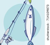 fishing rod with hook and nylon ... | Shutterstock .eps vector #714109873