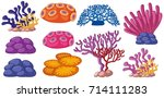 different types of coral reef... | Shutterstock .eps vector #714111283