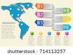 world map timeline vector... | Shutterstock .eps vector #714113257