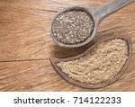 seeds and chia flour   salvia... | Shutterstock . vector #714122233