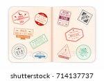 vector passport with stamps.... | Shutterstock .eps vector #714137737