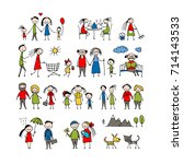 family set  sketch for your... | Shutterstock .eps vector #714143533