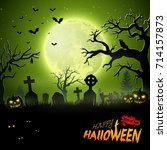 cartoon halloween background... | Shutterstock . vector #714157873