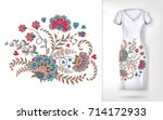 embroidery colorful trend... | Shutterstock .eps vector #714172933