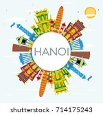 hanoi skyline with color... | Shutterstock .eps vector #714175243