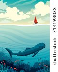 big whale with fishes and coral ... | Shutterstock .eps vector #714193033