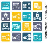 database and network icon set... | Shutterstock .eps vector #714202387