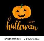cute orange pumpkin on black... | Shutterstock .eps vector #714203263