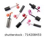 lip gloss applicator and drops...   Shutterstock . vector #714208453