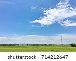 blue sky with clouds and green... | Shutterstock . vector #714212647
