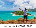 young man traveler relaxing on... | Shutterstock . vector #714212863