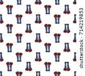 vector blue polka dot wellies... | Shutterstock .eps vector #714219853