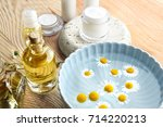 composition with cosmetic... | Shutterstock . vector #714220213
