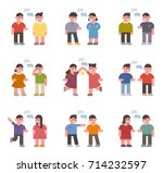 talking small ratio character... | Shutterstock .eps vector #714232597