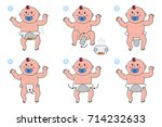 stages of changing diapers in... | Shutterstock .eps vector #714232633