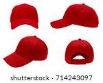 blank red baseball cap 4 view... | Shutterstock . vector #714243097