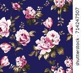 shabby chic vintage roses ... | Shutterstock .eps vector #714247507