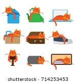 cat sleeping in unusual places. ... | Shutterstock .eps vector #714253453