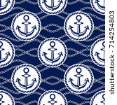 seamless pattern with anchors.... | Shutterstock .eps vector #714254803