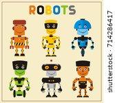 set funny robots in cartoon... | Shutterstock .eps vector #714286417