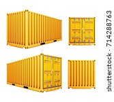 yellow 3d cargo container... | Shutterstock .eps vector #714288763