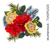 bouquet of red rose and... | Shutterstock .eps vector #714291223
