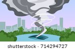 tornado in countryside... | Shutterstock .eps vector #714294727