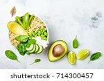 vegan  detox green buddha bowl...   Shutterstock . vector #714300457