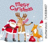 vector christmas greeting card. ... | Shutterstock .eps vector #714308407