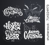 merry christmas. happy new year.... | Shutterstock .eps vector #714324973