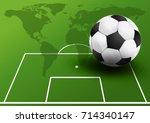 soccer ball on the soccer field.... | Shutterstock .eps vector #714340147