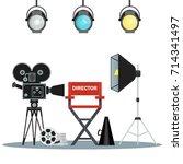 film directors chair with... | Shutterstock . vector #714341497