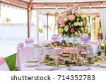 served round banquet table... | Shutterstock . vector #714352783