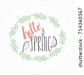 handwritten calligraphic hello... | Shutterstock . vector #714360367