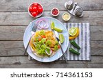 plate with delicious fish taco... | Shutterstock . vector #714361153