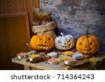 halloween pumpkin head jack... | Shutterstock . vector #714364243