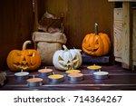 halloween pumpkin head jack... | Shutterstock . vector #714364267