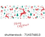 festive christmas holiday icons ...   Shutterstock .eps vector #714376813