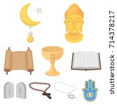 religion set icons in cartoon... | Shutterstock .eps vector #714378217