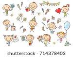 a set ot funny sketchy kids... | Shutterstock .eps vector #714378403