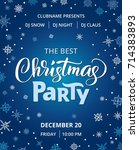 christmas party poster template ... | Shutterstock .eps vector #714383893