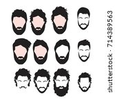 hipster vector set  hair and... | Shutterstock .eps vector #714389563